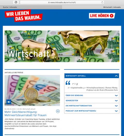 Inforadio Wirtschaft page